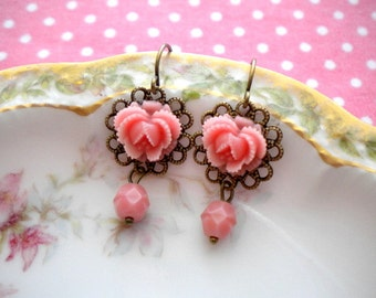 Pink Flower Earrings Dangle Flower Earrings Pink Earrings Flower Dangle Earrings Flower Pink Earrings Vintage Style Dangle Pink Earrings