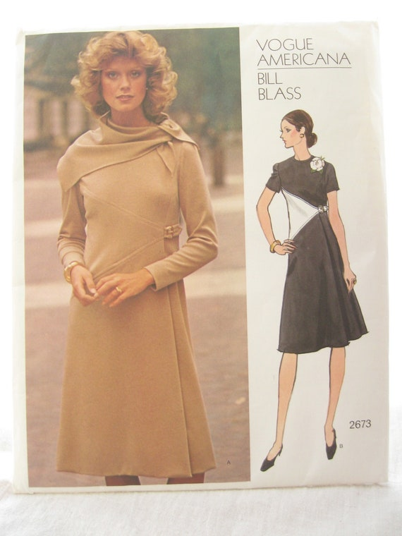 Vogue 2673 Bill Blass Color Blocked Jersey Dress 1970s Vintage Sewing Pattern Bust 36