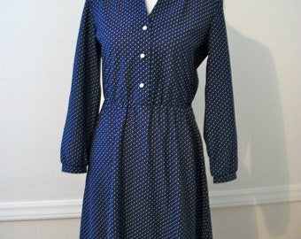 Vintage 60s blue and white polka dot dress - size Medium Large