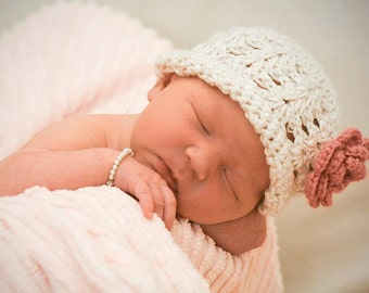 Crochet PATTERN 140, Dainty Lace Preemie / Newborn Beanie Photography Prop