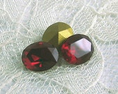 10x8 mm Swarovski Siam Red Oval Rhinestone Vintage Glass Jewel