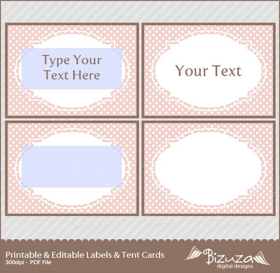 printable candy buffet labels and tent cards pink  u0026 brown