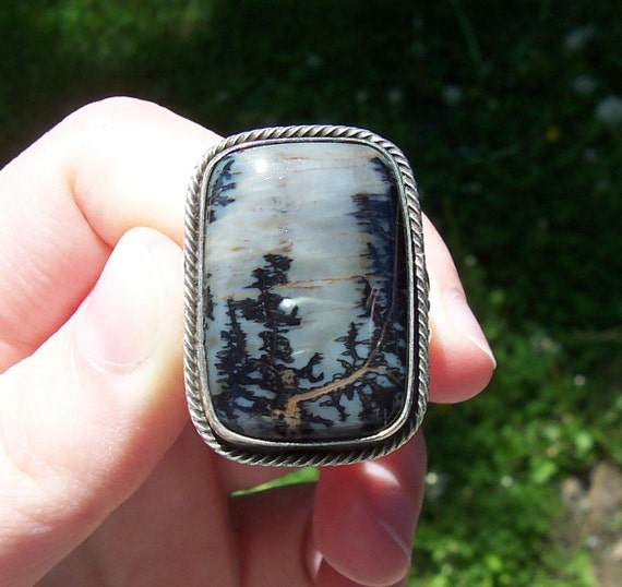 Vintage Sterling Silver Native American Signed Scenic Tree Ring
