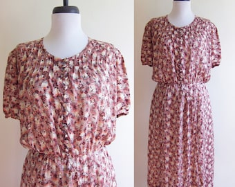 Vintage 1940s Dress / Button Up SILK PATTERNED Faux Wrap Dress / Size Small or Medium