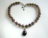Smoky Quartz Necklace, Sterling Silver, Gemstone Jewelry, Quartz Necklace, Brown, Umber, Chocolate, Coffee, Smoke, Taupe, 357