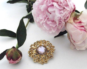 Gold Ornament and Purple Jewel Brooch - Vintage Pin - Lilac, Pink and Gold