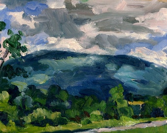 From The Clark, Springtime. Small Realist Oil Painting Landscape, 5x9 American Impressionist Fine Art, Signed Original Berkshires Oil