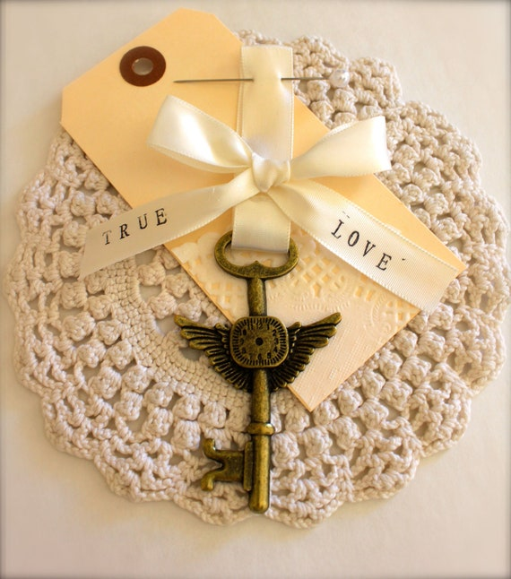 "Boutonniere Unique Steampunk Hunger Games Wings of Love Skeleton Key Timepiece "" Wedding Keepsake"""