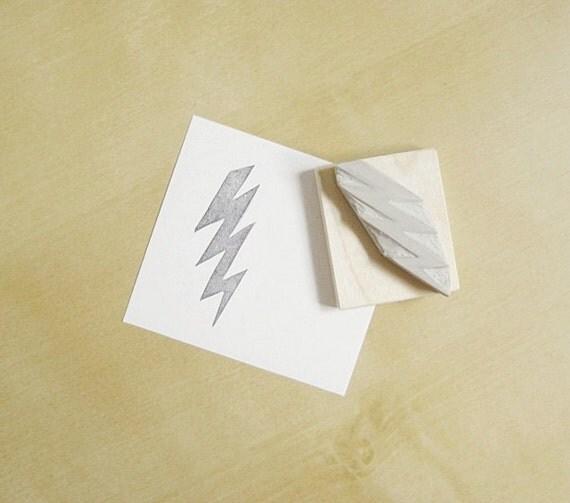 Lightning Bolt Hand Carved Stamp