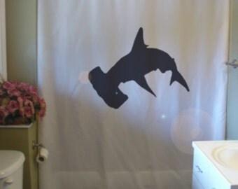 Hammerhead Shark Shower Curtain Fish Ocean Sea Predator Fin Tail Hammer  Head Bathroom Decor Kids Bath