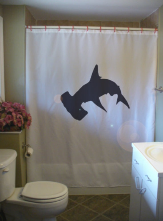 Hammerhead shark shower curtain fish ocean sea fin tail hammer for How do sharks use the bathroom
