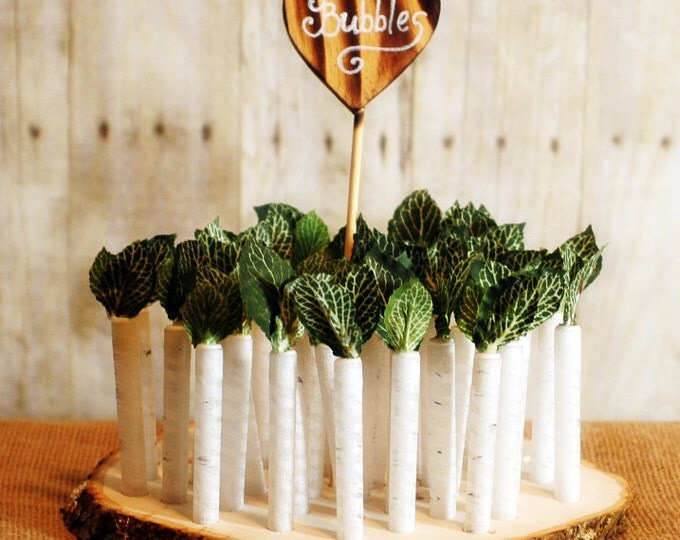 50 White Birch Twig Style Wedding Bubble favors with base and heart sign