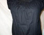 Black Natural or White Cotton peasant  Blouse Mori  Gothic Steampunk Victorian Lolita Chemise  Cap Sleeve