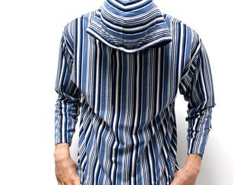 GRUNGE vintage men's striped HOODIE 90s long sleeve COTTON shirt