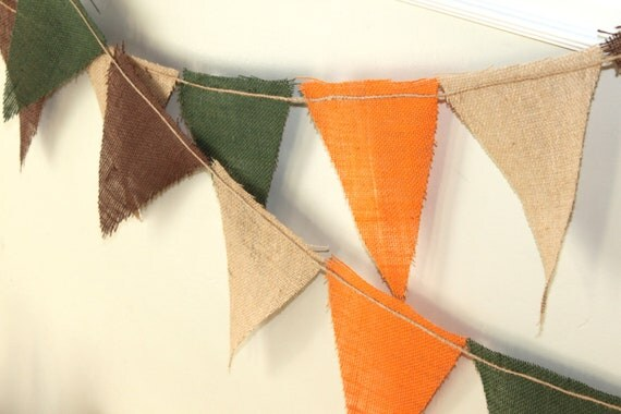 Clearance Burlap Bunting Set - Autumn Leaves in Tan, Brown, Orange, Green