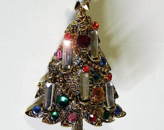 vintage Xmas Tree Pin Brilliant 1960s Holly Craft Christmas Tree Brooch - on sale