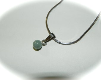 Vintage Necklace Sterling and Amazonite Planet Pendant  - on sale