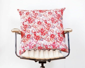 Silk Velvet and Satin European Cushion Cover Red Pink White Floral Bright Flowers Silver Satin : Alannah Hill Fabric