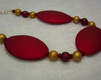 Red and Gold Rubberized Bead Necklace Free US Shipping