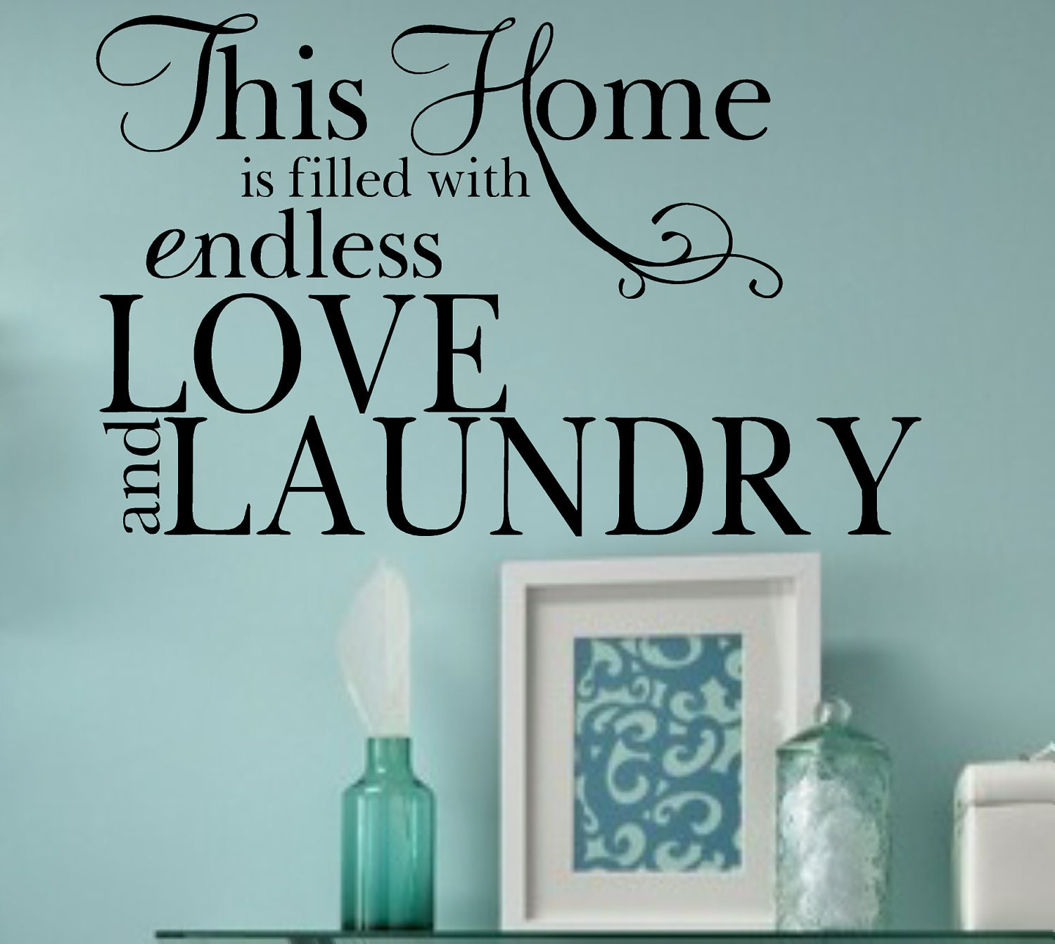 Love Wall Quotes: Love And Laundry Vinyl Wall Decal Quote Home Lettering