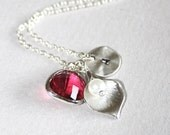 Personalized Initial Necklace, Lily Necklace, Custom Initial Necklace, Ruby / Hot Pink Jewel, Sterling Silver, Monogram Necklace, Gifts