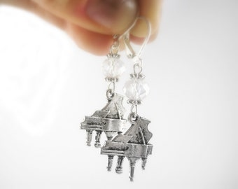 Sterling Silver Piano Earrings - Music Jewelry - Music Lover Gift - Music Earrings - Music Teacher Gift For Her Baby Grand Piano Jewelry -
