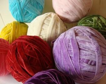"""27.5 yards 3/8"""" ( 9.5 mm) width in 9 colors of velvet elastic/ velvet stretch ribbon"""