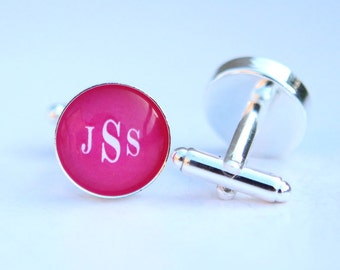 hot pink wedding gift for groomsmen gift, groomsman gift, personalized wedding favors for groomsmen - Personalized Cufflinks Custom Color