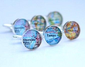 Custom Map Cufflinks Custom Map Wedding Gift - destination wedding Favors, Custom Location of your choice