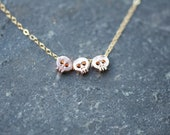 ROSE GOLD three Skull necklace on delicate gold chain, dainty skull necklace, rose gold skull necklace