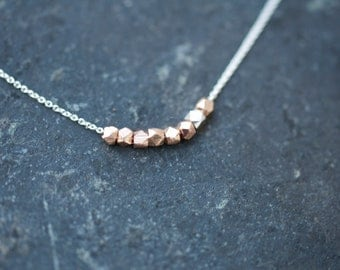 ROSE GOLD and Silver nugget necklace on delicate sterling silver chain