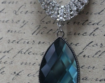 Sparkly Smoky Blue Glass Cabachon Necklace