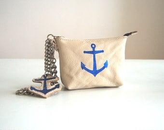 Nautical anchor cream leather purse, handmade.