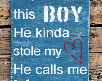 "There's This Boy, (Small, 7""x10"") Weathered Wood Wall Art"