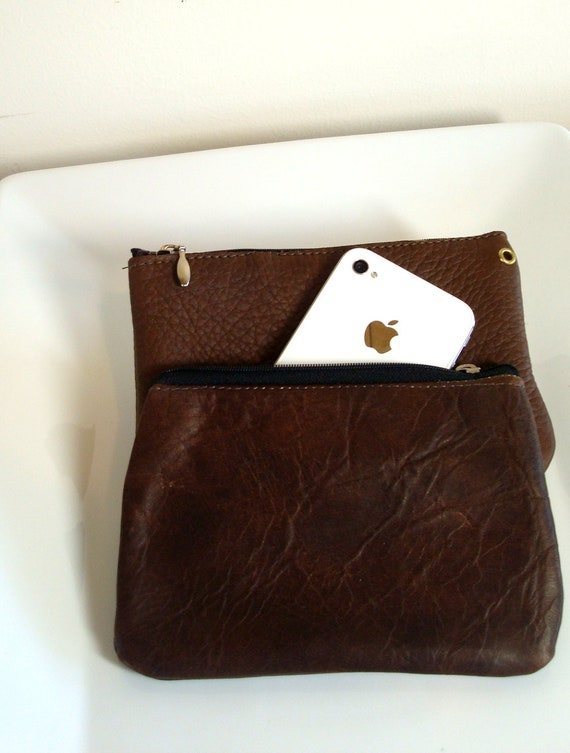 Handmade Dark Brown Leather zippered Coin Purse or Small Clutch