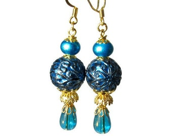 Shimmery Teal Dangle Earrings, Turquoise, Handmade  Vintage Inspired Jewelry
