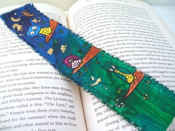 Painted Bookmark - Three Cute Little Owls (Original Art Painting)