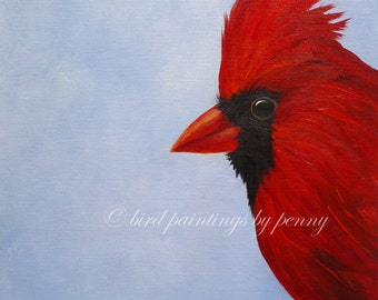 CARDINAL painting original bird painting 11 x 14