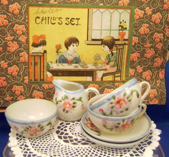 Partial Toy Tea Set 1930s Japan Childrens Dishes Roses