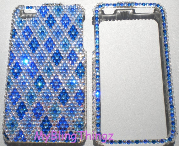 Small 12ss Multi Blue Crystal Diamond Design Rhinestone BLING 2Pc Case for iPhone 4 4G 4S handmade with 100% Swarovski Elements
