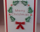 Hand Stitched Beaded Christmas Wreath Greeting Card