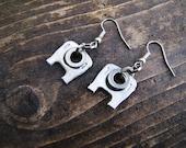Upcycled, original design, lightweight metal dangle Earrings