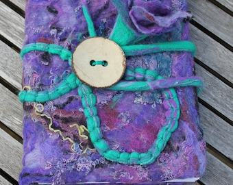 Nuno felted wool silk removable journal notebook diary sketch book cover - purple jade turquoise Christmas holiday Gifts for her OOAK