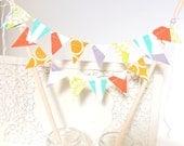Banner Cake Topper, Fabric Flags, Summer Wedding, Boy Birthday Party, Baby Shower Cake, Bunting, Chevron, Yellow, Aqua, Lime, Orange, Grey