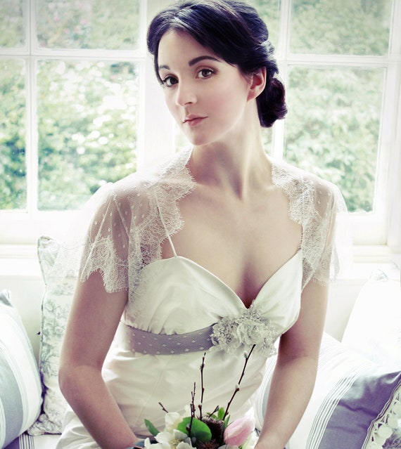 Lace bridal shrug bolero made from spotty tulle and French lace trim