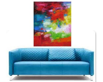 Large Oil Abstract, red, blue, green, turquoise oil abstract painting, green red blue Oil on canvas, Original large abstract, oil painitng