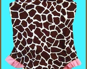 2T Girl's Brown/Pink Giraffe Print Bathing Swimsuit & FREE GIFT With Purchase