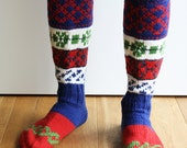 Knee high knitted socks with Scandinavian ornaments for unisex adults