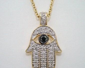 0.38 Carat 14K Yellow Gold Hamsa Hand Of GOD Diamond Pendant Necklace HandMade  Pave Set