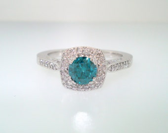 Blue Diamond Engagement Ring 14K White Gold 0.83 Carat SI1 Handmade Halo micro pave set